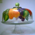 Handpainted Glass - Cake/Pastry holder