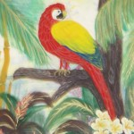 Red Parrot 100% silk handpainted